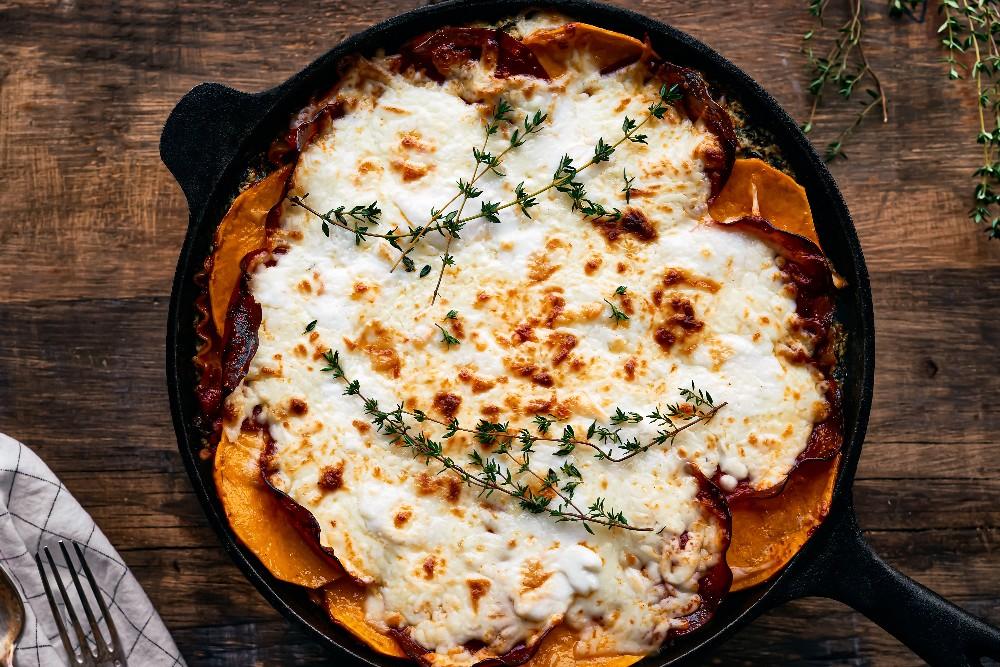 Lasagne chorizo, courge Butternut et rapinis