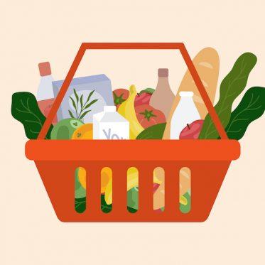 Panier d'aliments - fruits et légumes